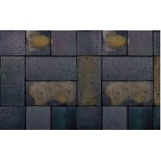 Тротуарная клинкерная брусчатка Roben Schwabing schwarz-buntgeflammt gefast, 200*100*52 мм